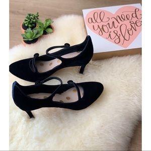 BODEN • Black Velvet Frederica Double Strap Heel